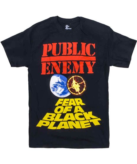 パブリックエネミー ( Public Enemy ) Fear Of A Black Planet バンドTシャツカラー:ブラック<br>サイズ:M〜XL<br>アルバムFEAR OF〜のジャケットデザイン