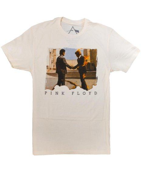 ピンク フロイド ( Pink Floyd ) Wish You Were Here バンドTシャツカラー:ベージュ<br>サイズ:S、M、L<br>75年の名盤のジャケットデザイン