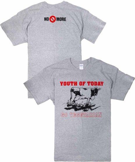 Youth Of Today オフィシャルバンドTシャツ Go Vegetarian グレーカラー:グレー<br>サイズ:S〜L<br>NO MOREのベガンのデザイン。フロントには牛。
