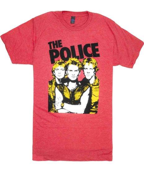 ザ ポリス ( The Police ) グループフォト バンドTシャツカラー:ビンテージレッド<br>サイズ:S〜L<br>渋めのボディーに3人のグループショットデザイン