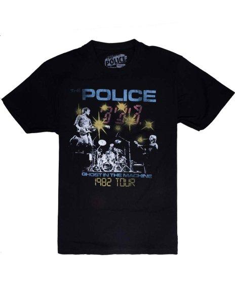 ザ ポリス ( The Police ) 82 Ghost Tour バンドTシャツカラー:ブラック<br>サイズ:S〜L<br>82年のゴーストインザマシンツアーデザイン。