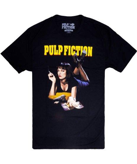 パルプ・フィクション ( Pulp Fiction ) ミア ( MIA ) 映画  メンズTシャツカラー:ブラック<br>サイズ:S〜XL<br>定番のミアが寝そべって煙草のデザイン