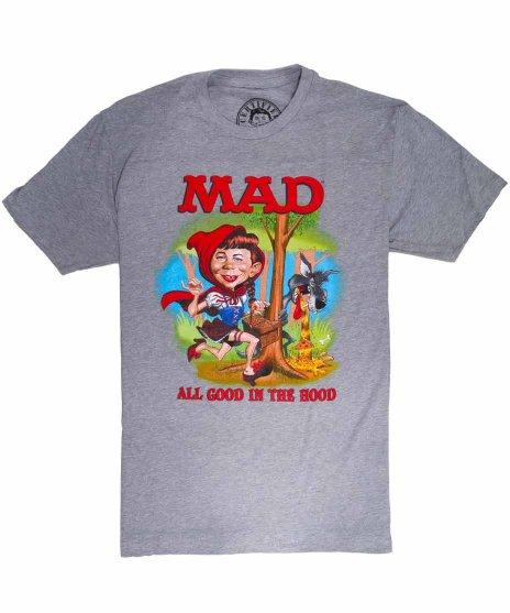 マッド マガジン ( Mad Magazine ) アメコミ Little Alfie  メンズTシャツカラー:グレー<br> サイズ:S〜XL<br>アメリカ老舗コッミック誌MADのキャラクターアルフレッドの赤ずきんちゃんデザイン