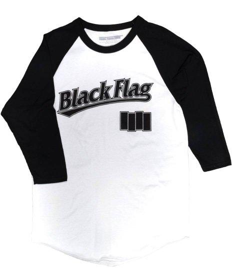 Black Flag(ブラック・フラッグ) ( 7分丈 ) ベースボールシャツ バンドTシャツカラー:ホワイト<br>サイズ:M,L,XL<br>ブラックフラッグのベースボールジャージ