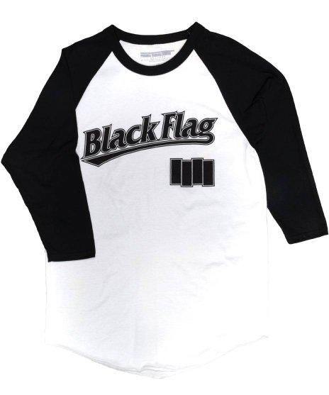 Black Flag(ブラック・フラッグ) ( 7分丈 ) ベースボールシャツ オフィシャルバンドTシャツカラー:ホワイト<br>サイズ:M,L,XL<br>ブラックフラッグのベースボールジャージ