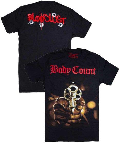 ボディー カウント ( Body Count ) KILLER LP バンドTシャツカラー:ブラック<br>サイズ:S〜XL<br>印象的な拳銃のデザイン