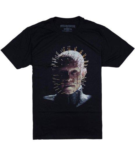 Hellraiser ( ヘルレイザー ) 映画 ピンヘッド オフィシャルTシャツカラー:ブラック<br>サイズ:S~XL<br>ヘル・レイザー ピンヘッドの大きいデザイン