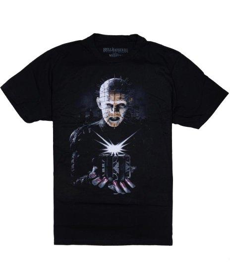 Hellraiser ( ヘルレイザー ) 映画 パズルボックス オフィシャルTシャツカラー:ブラック<br>サイズ:S~XL<br>ピンヘッドとパズルボックスのデザイン