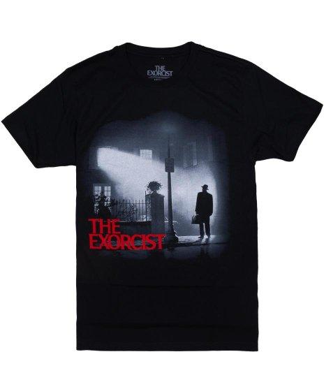 エクソシスト 映画 Night Watch メンズTシャツカラー:ブラック<br>サイズ:S~XL<br>神父が家を訪れるエクソシストのポスターデザイン。