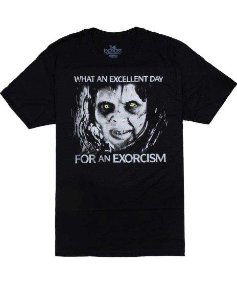エクソシスト 映画 Excellent Day メンズTシャツカラー:ブラック<br>サイズ:S~XL<br>悪魔祓いの前に悪魔 ( カーリー)のセリフ入り。