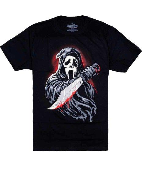 スクリーム 映画 ゴーストフェイス ( イラスト )  メンズTシャツカラー:ブラック<br>サイズ:S~XL<br>イラスト風ゴーストフェイスのデザイン。