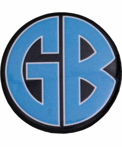ゴリラ ビスケッツ ( Gorilla Biscuits ) バンド缶バッチ ブルーロゴカラー:ブルー × ブラック<br>サイズ:32mm<br>ゴリビス GBロゴの缶バッジ