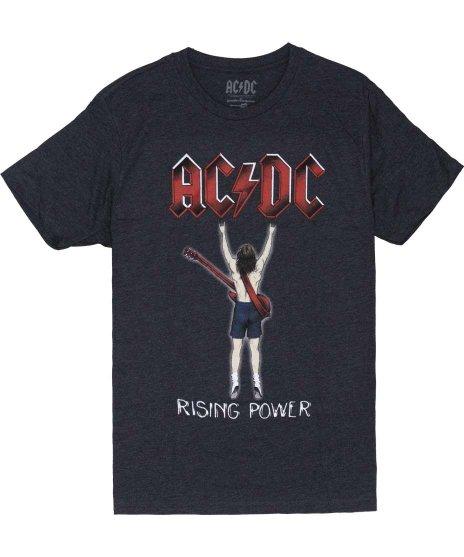 AC/DC Rising Power Fingers バンドTシャツカラー:グレー<br>サイズ:M〜XL<br>アンガスのバックのイラスト