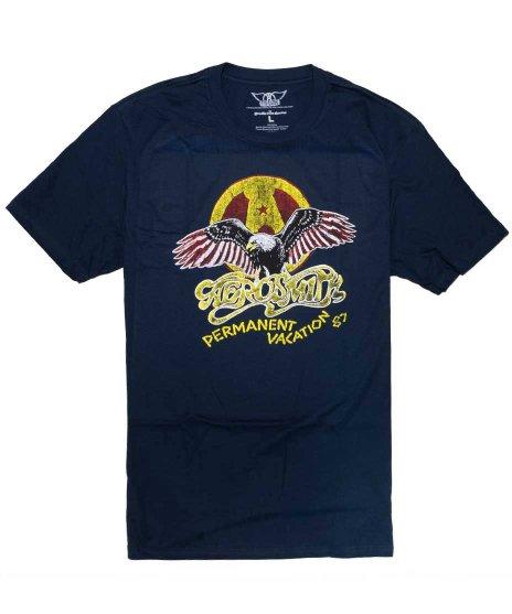 エアロスミス(Aerosmith) パーマネント・バケーション バンドTシャツカラー:ネイビー<br>サイズ:M〜XL<br>87年のパーマネントバケーションのデザイン