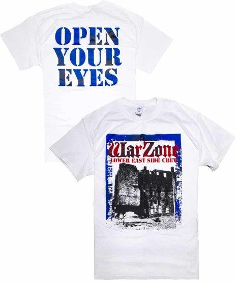 Warzone オフィシャルバンドTシャツ Open Your Eyesカラー:ホワイト<br>サイズ:S〜L<br>ポスターデザイン