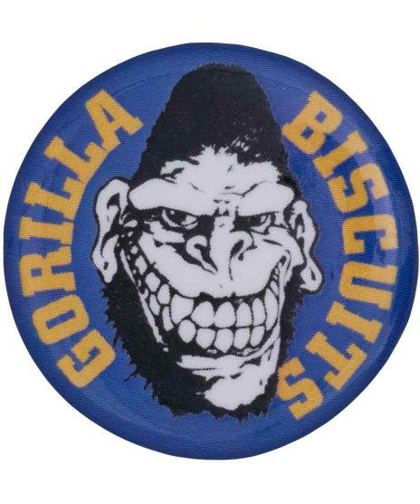 ゴリラ ビスケッツ ( Gorilla Biscuits ) バンド缶バッチ Gorillaロゴカラー:ネイビー<br>サイズ:32mm<br>ゴリビス GBロゴの缶バッジ