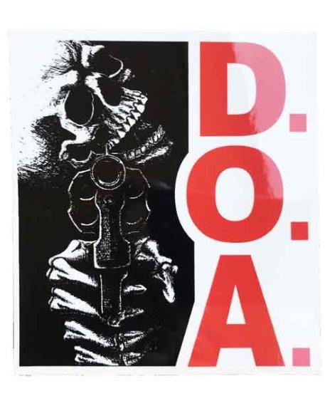 DOA バンドステッカー DEAD ON ARRIVALサイズ:10.2 × 11.4cm<br>アルバムMurderのスカルデザイン。