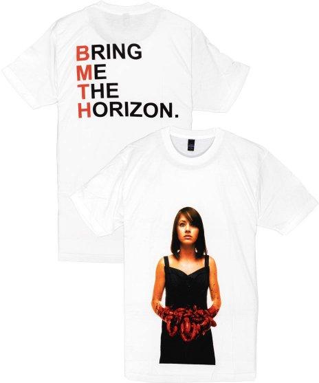 BRING ME THE HORIZON Suicide Season レッド バンドTシャツサイズ:M,L,XL<br>カラー:ホワイト<br>スーサイド シーズンのジャケットデザイン。