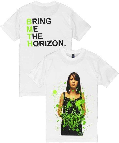BRING ME THE HORIZON Suicide Season デラックス バンドTシャツサイズ:M,L,XL<br>カラー:ホワイト<br>スーサイド シーズンのジャケットにグリーンのデザイン。