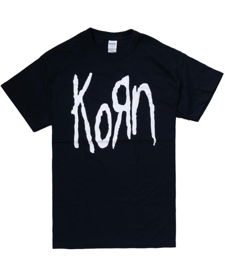 コーン ( Korn ) ロゴ バンドTシャツカラー:ブラック<br>サイズ:M,L,XL<br>シンプルなKORNのロゴデザイン。