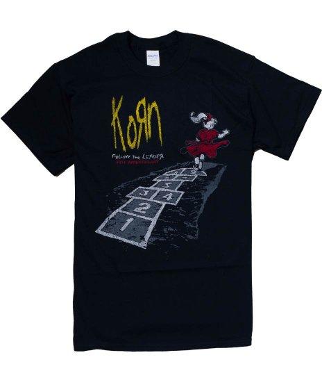 コーン ( Korn ) Follow The Leader 20th記念デザイン バンドTシャツカラー:ブラック<br>サイズ:M,L,XL<br>Follow the LeaderのジャケットデザインTシャツ。