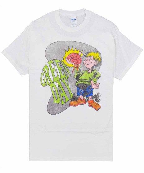 グリーン デイ ( Green Day ) Brain Boy バンドTシャツカラー:ホワイト<br>サイズ:M,L,XL<br>少年が脳を持っているデザインです。