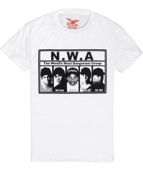 NWA The World's Most Dangerous Group バンドTシャツカラー:ホワイト<br>サイズ:M、L<br>NWAメンバーをデザイン