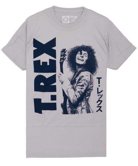 T-Rex Japanese バンドTシャツカラー:グレー<br>サイズ:M,L.<br>マーク・ボランとT・レックスのカタカナ