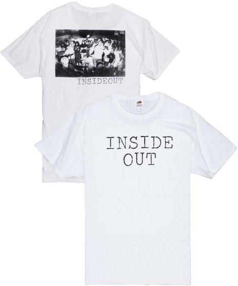 Inside Out ロゴ  バンドTシャツカラー:ホワイト<br>サイズ:M,L<br>ロゴと、ライブフォトの定番デザイン。