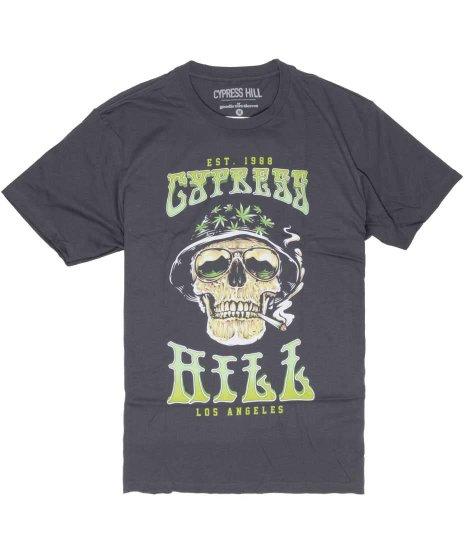サイプレス ヒル ( Cypress Hill ) スモーキングスカル バンドTシャツカラー:グレー<br>サイズ:M〜XL<br>スカルとマリワナのデザイン