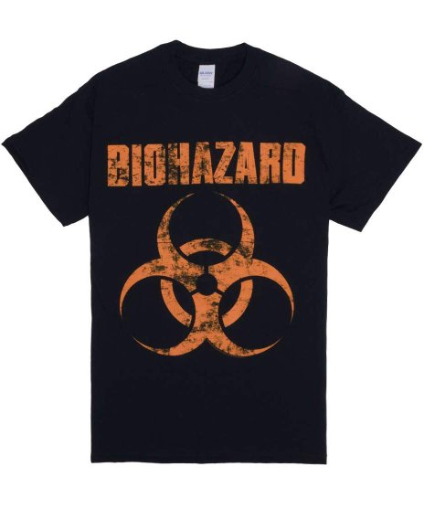 Biohazard Distress Logo バンドTシャツカラー:ブラック<br>サイズ:M〜XL<br>バイオハザードのバンドロゴのデザインです。