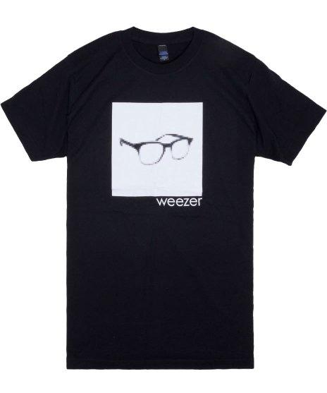 weezer ピクセル・グラス バンドTシャツカラーブラック<br>サイズ:S〜XL<br>シンプルなメガネのデザイン