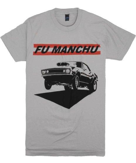 Fu Manchu Muscle バンドTシャツカラー:グレー<br>サイズ:M〜XL<br>マッスルカーのデザイン