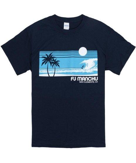 Fu Manchu サーフ サンクレメンテ バンドTシャツカラー:ネイビー<br>サイズ:M〜XL<br>西海岸のサーフィンのデザイン