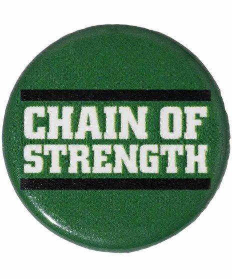 Chain Of Strength バンド缶バッチ Logo Buttonカラー:グリーン<br>サイズ:32mm<br>グリーンがベースのロゴバッジ