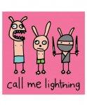 Call Me Lightning ステッカー ラビットのイラストカラー:ピンク<br>サイズ:10×10cm<br>イラストステッカー