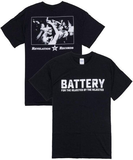 Battery For The Rejected By The Rejected バンドTシャツカラー:BLK <br>サイズ:M,L<br>バンドロゴにライブフォトバックプリント。