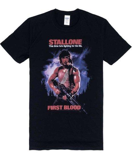 映画 ランボー ( RAMBO ) Part 1 First Blood メンズTシャツカラー:ブラック<br>サイズ:M〜L<br>ランボー第一作めのデザイン。
