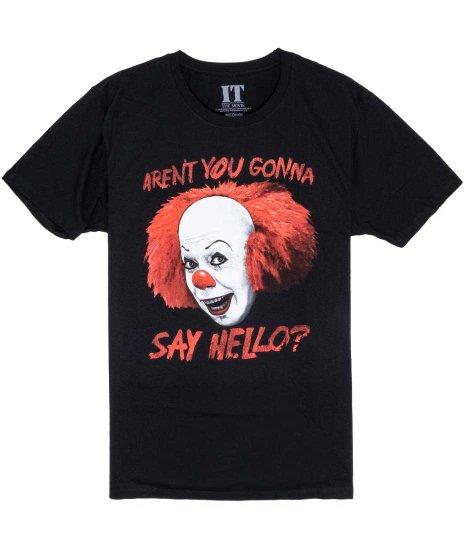 IT 映画 Say Hello? メンズTシャツカラー:ブラック<br>サイズ:M〜XL<br>ピエロのペニーワイズのデザイン