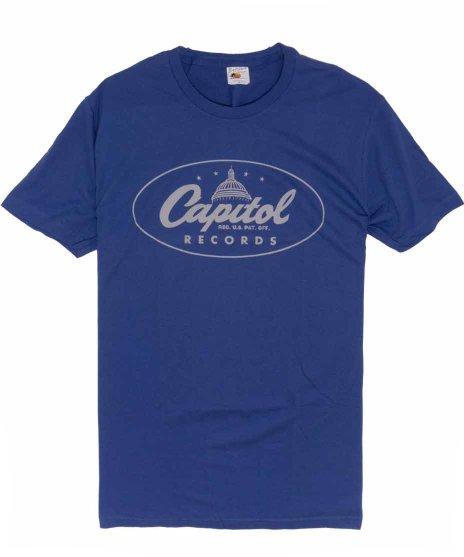 キャピトルレコード (Capitol Records ) ロゴ バンドTシャツカラー:ロイヤルブルー<br>サイズ:M<br>レコードレーベルキャピトルレコードの会社のロゴのデザイン