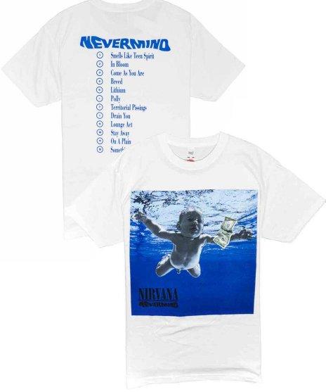 Nirvana (ニルヴァーナ)バンドTシャツ NEVERMINDカラー:WHT<br>サイズ:M,L,XL<br>Nevermindのジャケットデザイン