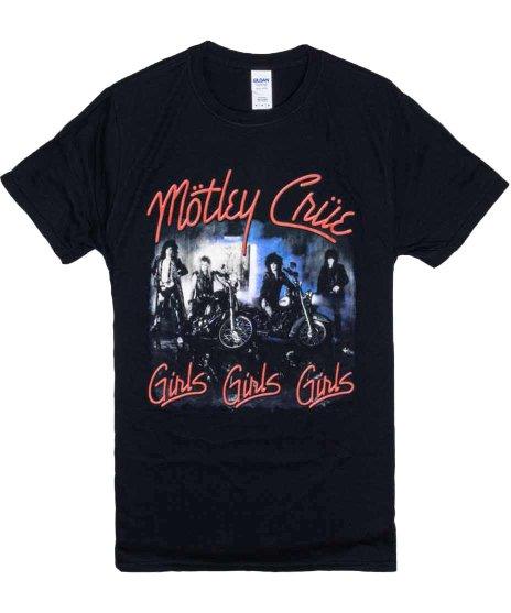 Motley Crue バンドTシャツ GIRLS GIRLS GIRLSカラー:BLK<br>サイズ:M,L,XL<br>バンドロゴs