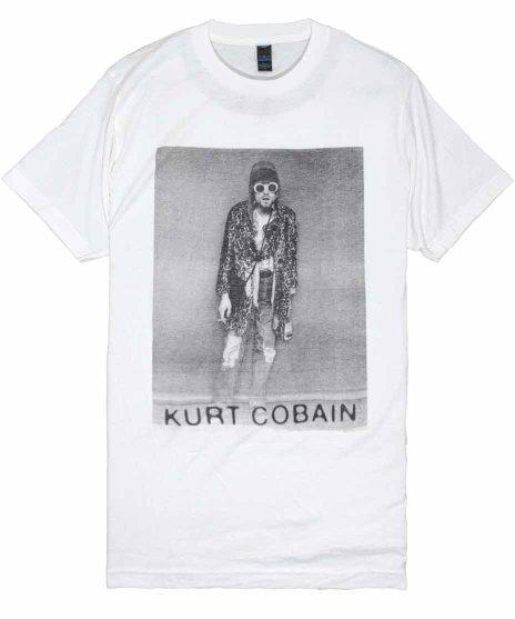 Nirvana (ニルヴァーナ)バンドTシャツ カート コバーン B&W LEAPORDカラー:WHT<br>サイズ:M<br>カートのモノクロ写真