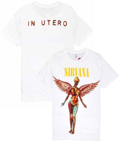 Nirvana(ニルヴァーナ)バンドTシャツ IN UTEROカラー:WHT<br>サイズ:M,L,XL<br>イン・ユーテロジャケットデザイン