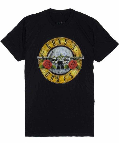 GUNS N ROSES バンドTシャツ DISTRESSED BULLETカラー:BLK<br>サイズ:S,M,L,XL<br>ガンズのロゴデザイン。