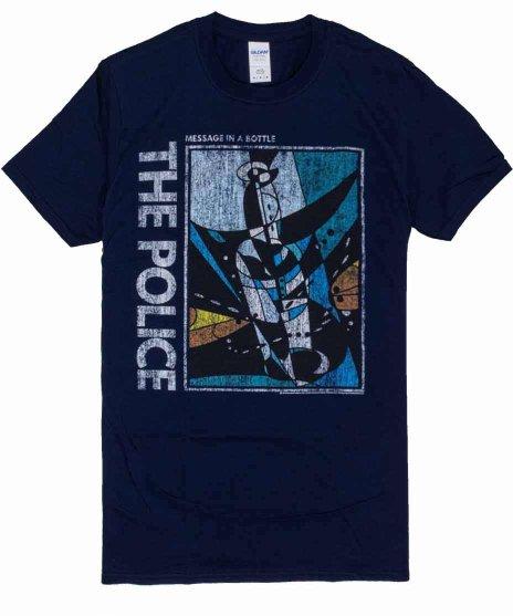 ザ ポリス ( The Police ) バンドTシャツ MESSAGE IN A BOTTLEカラー:ネイビー<br>サイズ:M,L<br>MESSAGE IN A BOTTLEのジャケットデザイン