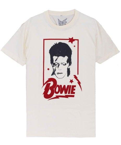 デヴィッド ボウイ(DAVID BOWIE)ALADDIN FRAME オフィシャルバンドTシャツカラー:ホワイト<br>サイズ:M,L,XL<br>アラジン・セインのデザイン