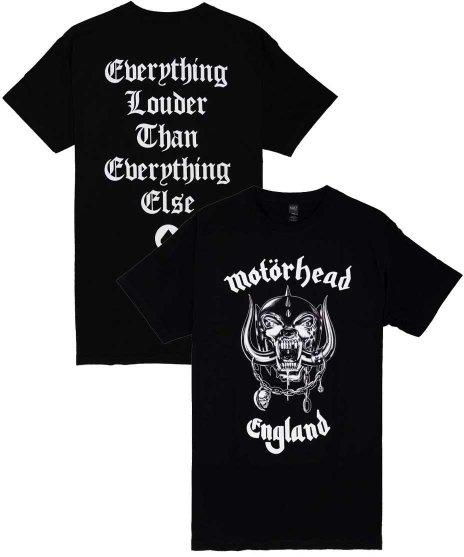 モーターヘッド ( Motorhead ) ENGLAND オフィシャルバンドTシャツカラー:ブラック<br>サイズ:S〜L<br>定番のバンドロゴデザイン。