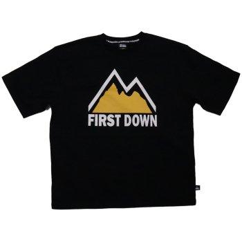 ファーストダウン FIRST DOWN TEE プリントTシャツ BLACK ブラック S/S T-SHIRTS