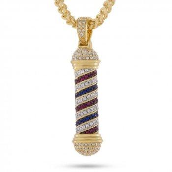 キングアイス KINGICE The 14K Gold CZ Barber Shop Pole Necklace GOLD ACCESSORIES